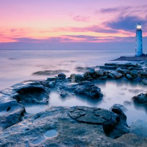 sea wave-lighthouse in the blue dusk-20