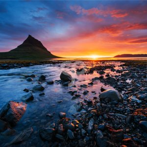 standret-sunset over landscapes and waterfalls. kirkjufell mountain iceland-20